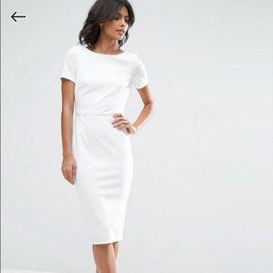 ASOS Ruffle Back Midi Dress - White